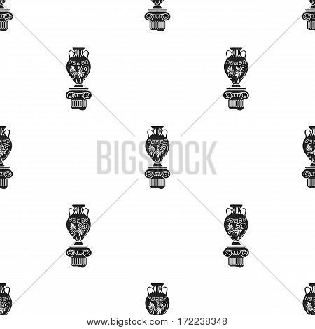 Amphora icon in black style isolated on white background. Museum pattern vector illustration.