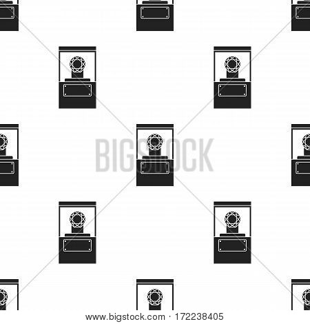 Diamond on a pedestal icon in black style isolated on white background. Museum pattern vector illustration.