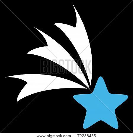 Falling Star flat icon. Vector bicolor blue and white symbol. Pictograph is isolated on a black background. Trendy flat style illustration for web site design logo ads apps user interface.