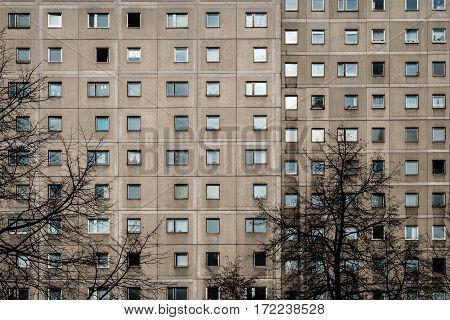 Plattenbau building facade - gdr architecture -