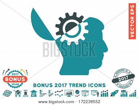 Soft Blue Open Mind Gear pictogram with bonus 2017 trend icon set. Vector illustration style is flat iconic bicolor symbols white background.