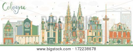 Abstract Cologne Skyline with Color Buildings. Business Travel and Tourism Concept with Historic Architecture. Image for Presentation Banner Placard and Web Site.