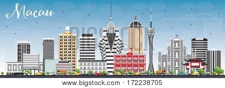 Macau Skyline with Gray Buildings and Blue Sky. Business Travel and Tourism Concept with Modern Architecture. Image for Presentation Banner Placard and Web Site.