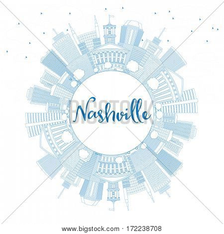 Outline Nashville Skyline with Blue Buildings and Copy Space. Business Travel and Tourism Concept with Modern Architecture. Image for Presentation Banner Placard and Web Site.
