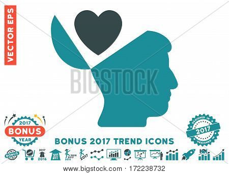 Soft Blue Open Mind Love Heart pictograph with bonus 2017 year trend pictograph collection. Vector illustration style is flat iconic bicolor symbols white background.
