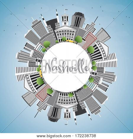 Nashville Skyline with Gray Buildings, Blue Sky and Copy Space. Business Travel and Tourism Concept with Modern Architecture. Image for Presentation Banner Placard and Web Site.