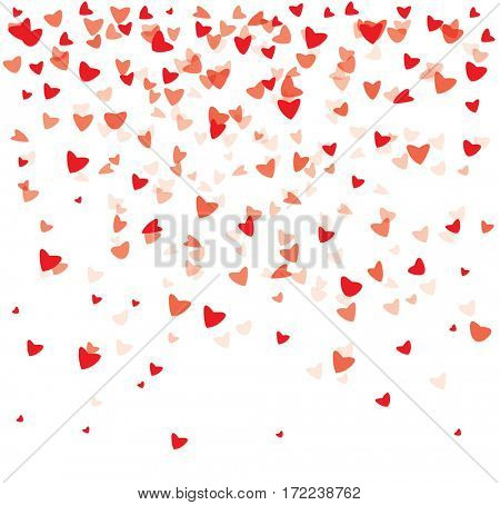 Falling Red Hearts on White Background. Valentine's Day Background.