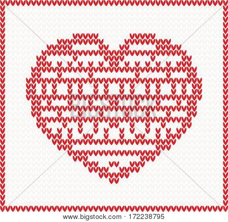 Knitted Pattern with Red Heart. Christmas and Valentine's Day Concept.