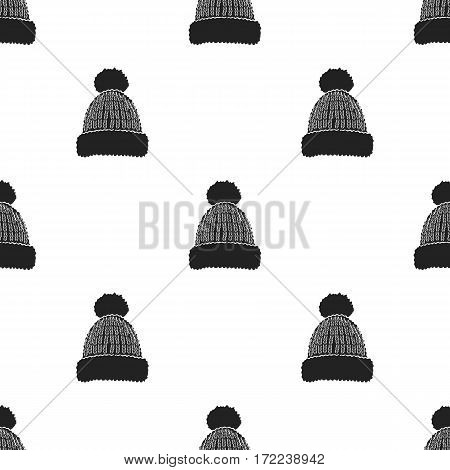 Knit cap icon in black style isolated on white background. Ski resort pattern vector illustration.
