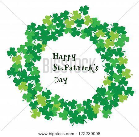 vector illustration of shamrock frame St. Patrick day