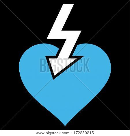Heart Shock Strike flat icon. Vector bicolor blue and white symbol. Pictogram is isolated on a black background. Trendy flat style illustration for web site design logo ads apps user interface.