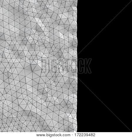 Abstract, geometric triangle silver mosaic background. 3D rendering