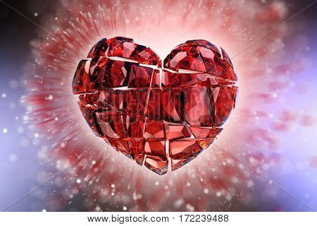 Brilliant ruby on black background. Red Crystal. St. Valentine's Day 3D