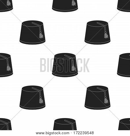 Fez icon in black style isolated on white background. Turkey pattern vector illustration.