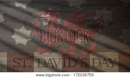 Saint David Day. Usa Flag and Welsh Dragon