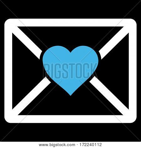 Love Letter flat icon. Vector bicolor blue and white symbol. Pictograph is isolated on a black background. Trendy flat style illustration for web site design logo ads apps user interface.