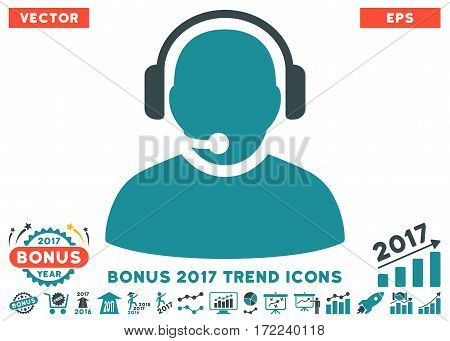 Soft Blue Operator pictograph with bonus 2017 year trend pictograph collection. Vector illustration style is flat iconic bicolor symbols white background.