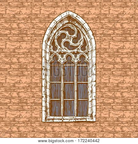 Vector vintage illustration of gothic window in old-fashioned hand drawn style. Seamless wall background.