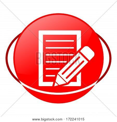 Red icon, document with pencil vector illustration on white background