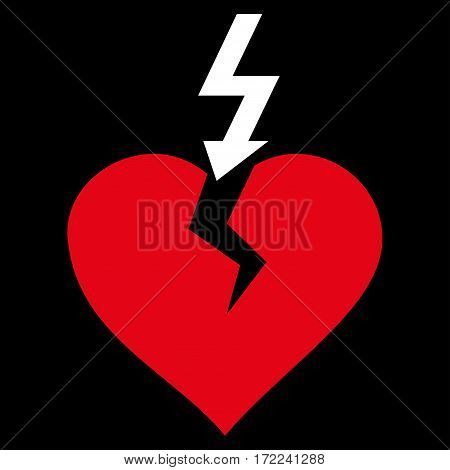 Break Heart flat icon. Vector bicolor red and white symbol. Pictogram is isolated on a black background. Trendy flat style illustration for web site design logo ads apps user interface.