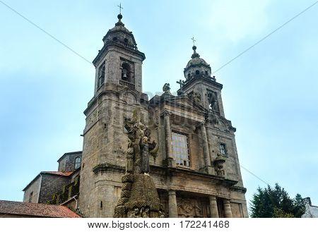 Two Bell towers and facade of Convent of San Francisco de Santiago (Santiago de Compostela Spain).