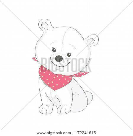 Funny bear with red shawl. Vector illustration