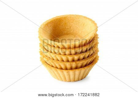 Stack of tartlets isolated on white background