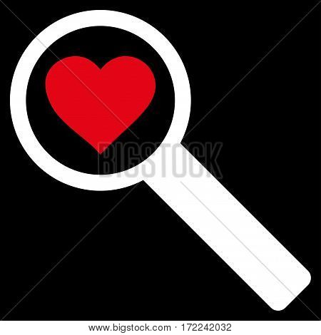 Find Love flat icon. Vector bicolor red and white symbol. Pictogram is isolated on a black background. Trendy flat style illustration for web site design logo ads apps user interface.