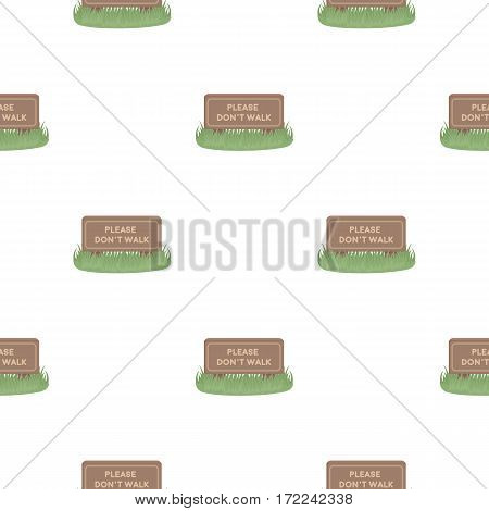 Please don't walk icon in cartoon style isolated on white background. Park pattern vector illustration.
