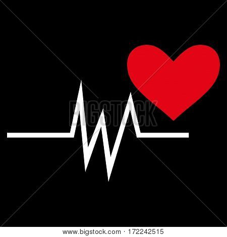 Heart Pulse Signal flat icon. Vector bicolor red and white symbol. Pictograph is isolated on a black background. Trendy flat style illustration for web site design logo ads apps user interface.