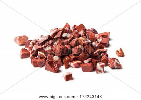 rosso levante, red marble on white background