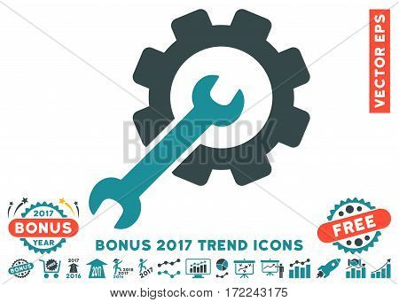 Soft Blue Setup Tools icon with bonus 2017 year trend elements. Vector illustration style is flat iconic bicolor symbols white background.
