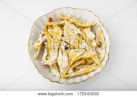 Homemade brushwood-crunchy cookies on plate. Studio Photo
