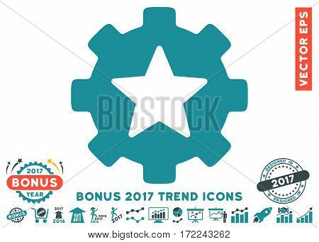 Soft Blue Star Favorites Options Gear pictograph with bonus 2017 year trend pictograph collection. Vector illustration style is flat iconic bicolor symbols white background.