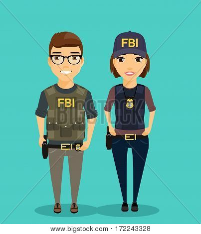 Young man and woman employees of the Federal Bureau of Investigation are next to each other. Professionals in their field. A girl and a guy dressed in body armor. Dangerous profession