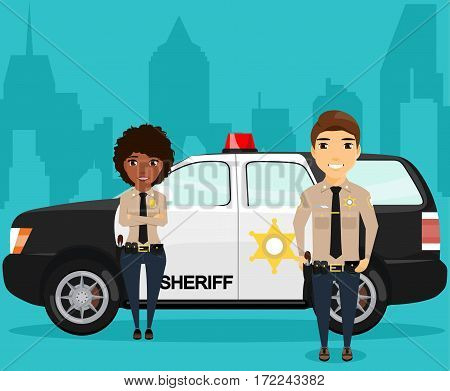 Sheriff and his partner standing near a police car on the background of the city. On the custody order. Police car with a flashing light. Patrols. Happy people
