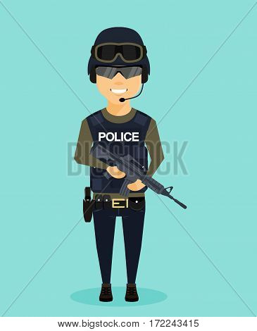 Man Special Forces officer. Dangerous profession. Man in helmet and flak jacket. A member of the Rapid Reaction Police.