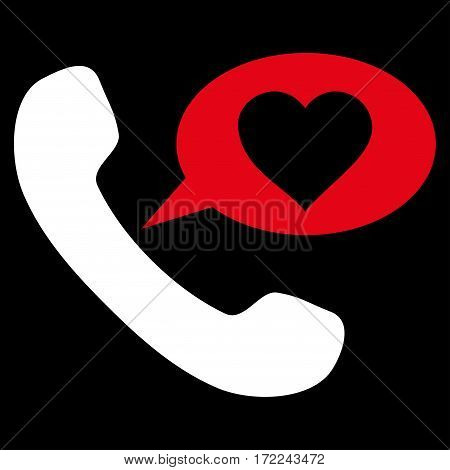 Love Phone Message flat icon. Vector bicolor red and white symbol. Pictograph is isolated on a black background. Trendy flat style illustration for web site design logo ads apps user interface.
