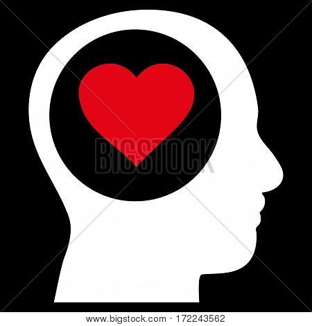 Love Thinking Head flat icon. Vector bicolor red and white symbol. Pictograph is isolated on a black background. Trendy flat style illustration for web site design logo ads apps user interface.