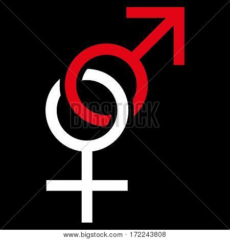 Sex Symbol flat icon. Vector bicolor red and white symbol. Pictograph is isolated on a black background. Trendy flat style illustration for web site design logo ads apps user interface.