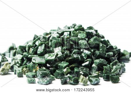 the crushed green marble on whitebackground, verde guatemala