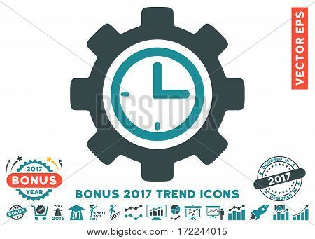 Soft Blue Time Setup Gear icon with bonus 2017 year trend icon set. Vector illustration style is flat iconic bicolor symbols white background.