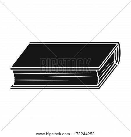 Green book icon in black design isolated on white background. Books symbol stock vector illustration.