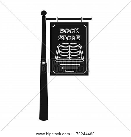 Bookstore signage icon in black design isolated on white background. Library and bookstore symbol stock vector illustration.