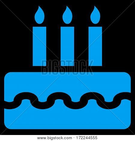 Birthday Cake flat icon. Vector blue symbol. Pictograph is isolated on a black background. Trendy flat style illustration for web site design logo ads apps user interface.