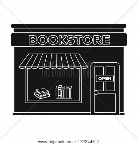 Bookstore icon in black design isolated on white background. Library and bookstore symbol stock vector illustration.