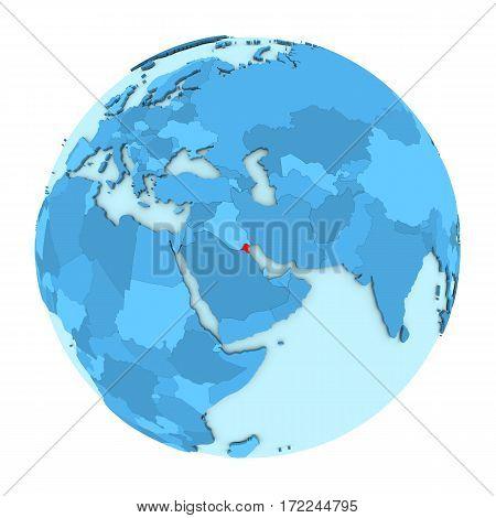 Kuwait On Globe Isolated