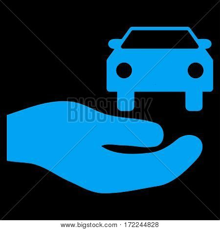 Car Gift Hand flat icon. Vector blue symbol. Pictograph is isolated on a black background. Trendy flat style illustration for web site design logo ads apps user interface.