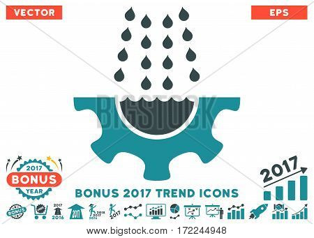 Soft Blue Water Shower Service Gear icon with bonus 2017 trend symbols. Vector illustration style is flat iconic bicolor symbols white background.