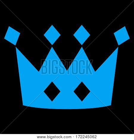 Crown flat icon. Vector blue symbol. Pictogram is isolated on a black background. Trendy flat style illustration for web site design logo ads apps user interface.